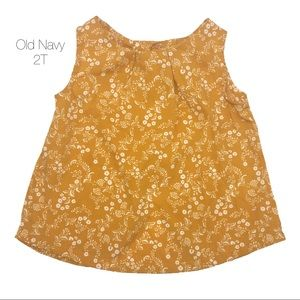Old Navy Mustard Floral Button Back Tank Blouse 2T